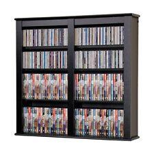 Hanging Wall Storage Mounted Black Media Cabinet CD DVD Game Rack Blu Ray Shelf