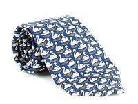 100% Authentic CHANEL Dark Blue Swan Chain CC Logo Silk Necktie Tie Accessories
