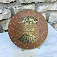 Ancien calendrier  en laiton en anglais, art déco vintage