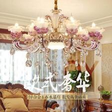 European jade crystal chandelier zinc alloy living room pendant lamp villa light