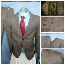 Rare! Vtg Tailored L. Polidoro Brown Suit 38R Napoli Italy Jacket 32X30 Pants