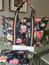 Cath Kidston Weekend/Tote + Make Up Bag, Cotton PVC Coated Floral, XL New Other