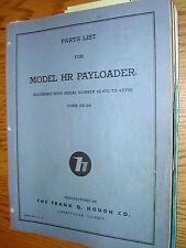 International Hough HR PARTS MANUAL BOOK CATALOG WHEEL PAYLOADER GUIDE LIST HR2A