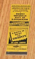 1950s Roosevelt UT Advertising Matchbook Rockwood's De Luxe Standard Cabins NICE