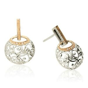 NEW CLOGAU WELSH GOLD & SILVER AM BYTH DIAMOND EARRINGS. Design: 3SACDE RRP £219