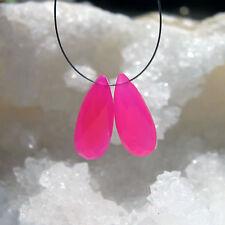2 pink chalcedon pear briolette tropfen facettiert ca. 20x8x5mm