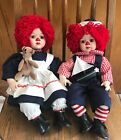 """Raggedy Ann and Andy Porcelain Doll Set  16"""" Tall"""