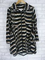 CLARITY Jacket Sz M Brown, Black, White Print