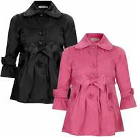 Girls Belted Mac Kids Plain Rain Button Jacket Lined Trench Coat Size 3-14 Years
