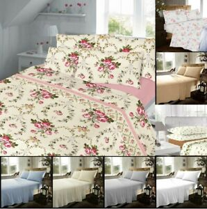 100% Brushed Cotton Thermal Flannelette Printed Plain Sheet Set  & Pillow cases