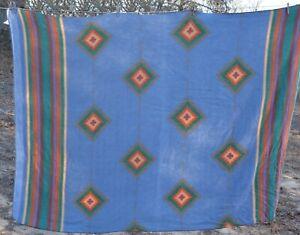 """Blanket Southwestern style Aztec/Native patterned  blue Fleece 66x93"""""""
