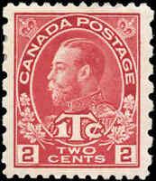 Mint H Canada 2c+1c, Perf 12 x 8, 1916 VF Scott #MR5 War Tax Stamp