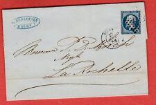 1856  LETTRE 20 c N°14 BLEU FONCE ROUEN SEINE MARITIME SUP