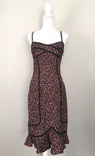 Betsey Johnson Floral Dress Size 6 Flounce Retro Cotton Spaghetti Strap Bodycon