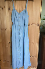 Denim & Co Light Blue Denim Button Up Midi Dress Size 12