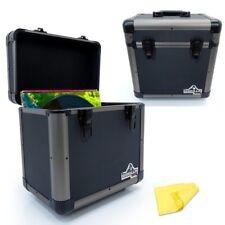 """2 x Gorilla 12"""" LP Vinyl Record Carry Storage Case Box - Titanium - Holds 60"""
