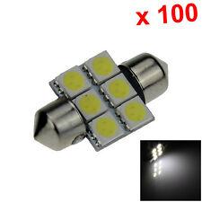 100x White AUTO 31MM Festoon Lamp Dome Light 6 Emitters 5050 SMD LED 30mm I004