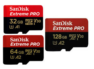 Sandisk 32GB 64GB 128GB Micro SD XC Extreme Pro A1 A2 4K Card & SD Adapter