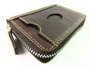 Unisex Premium RFID Blocking Zipped Brown Leather Concertina Credit Card Holder