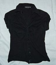 Zero Base Damen Bluse Gr. 36 schwarz Popeline ohne Ärmel