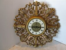 """Mid-century SYROCO Ornate ELECTRIC Wall Clock working 21"""" Wide Hollywood Regency"""