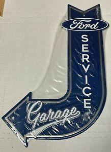 "Ford Service Garage ~ 18"" x 12""  Metal J-Bent Arrow Sign, Man cave Embossed"