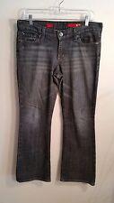 Express X2 black grey Eva Boot cut Jeans Size 8 Short sandblasted denim