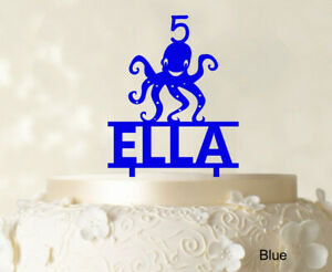 Birthday Custom Name Cake Topper With Octopus Figure Blue Cake-oLZ