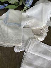 Vintage White Linen Lace Ladies Handkerchiefs Lot of 7