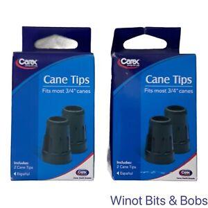 "Lot of 2 Carex Cane Tip 3/4""  Black - 2 tips per box, 4 tips total"