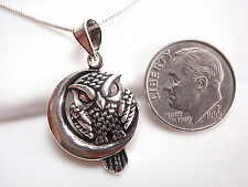 Night Owl Perched in Half Moon Necklace 925 Sterling Silver Corona Sun Jewelry