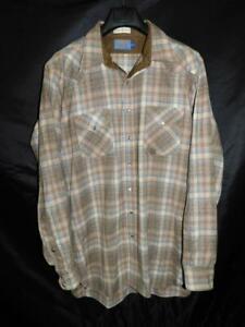 Vintage Pendleton XL Tall Brown Blue Plaid Western Snap Wool Shirt USA Made XLT