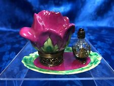 Xlarge Limoges France Porcelain Flower Trinket Box with Jeweled Perfume Bottle