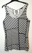 NAVY BLUE LADIES CASUAL TOP BLOUSE STRETCH STRIPED SIZE M GAP