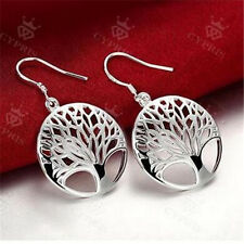 Women Antique Earrings Life Tree Pendants Dangle Sliver Fish Hooks Drop Jewelry