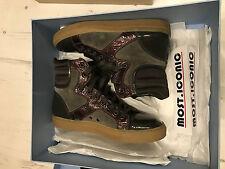 Lanvin high top sneakers trainers cap toe leather sz 5 UK 7 US 40 grey brown