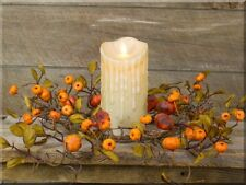 NEW! Primitive Country Beautiful Festive Autumn/Fall Pumpkins Candle Ring/Wreath
