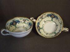SET OF 2 VINTAGE HANDPAINTED MINTON FEAGANS & CO. TWO HANDLED TEA CUPS