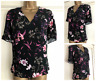 NEW EX M&S BLACK PINK PURPLE BEIGE FLORAL V NECK SHELL TOP SIZE 10 - 22