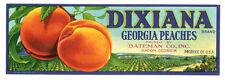 MACON GEORGIA Vintage 1930's Original DIXIANA Peach Fruit Crate Label BATEMAN