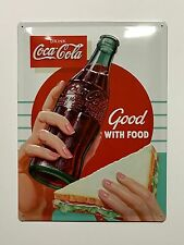Coca-Cola Good with Food - Tin Metal Wall Sign