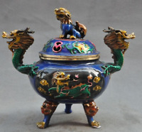 "7""Marked Old Chinese Bronze Cloisonne Foo Dog Kirin Dragon Incense burner Censer"
