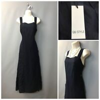 BNWT QU Style Dark Navy Denim Sleeveless Cotton Long Dress UK 10 EUR 38 US 6