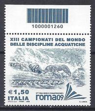 Italia Repubblica 2009 Mondiali Nuoto Codice a Barre MNH**