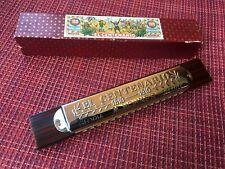 Hohner El Centenario Harmonica Imitation Walnut Double Octave Box Germany #3467