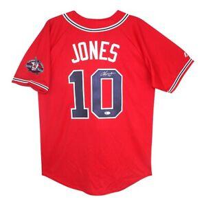 Chipper Jones signed 2012 Atlanta Braves Red Jersey w/ Retirement Patch BECKETT