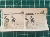 QQ006 Photo stéréoscopique les jolies baigneuses - Circa 1930 femme maillot bain