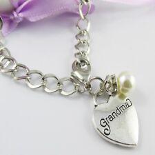 Curb Link Pearl & Grandma Heart Charm Bracelet