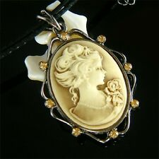 Brown CAMEO made with Swarovski Crystal Queen lady Princess Leather Necklace New