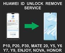 Huawei ID Unlock, Remove Service, P10, P20, P30, Y7, Y6, Y5, Nova, Mate, Honor